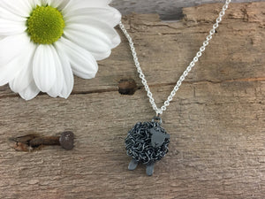 Silver black sheep necklace, individually hand crafted in Wales at Jeffs Jewellers.