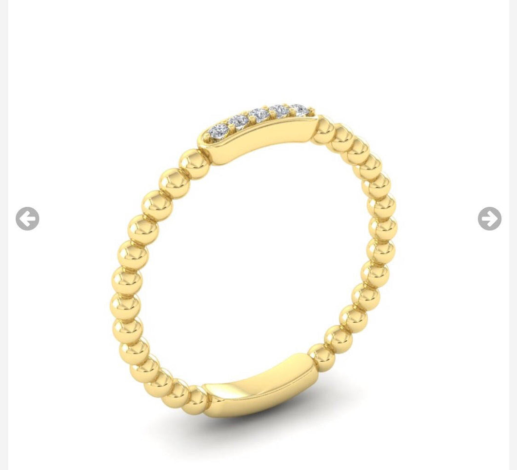 9ct gold Diamond beaded ring, stacker band yellow, red or white gold.