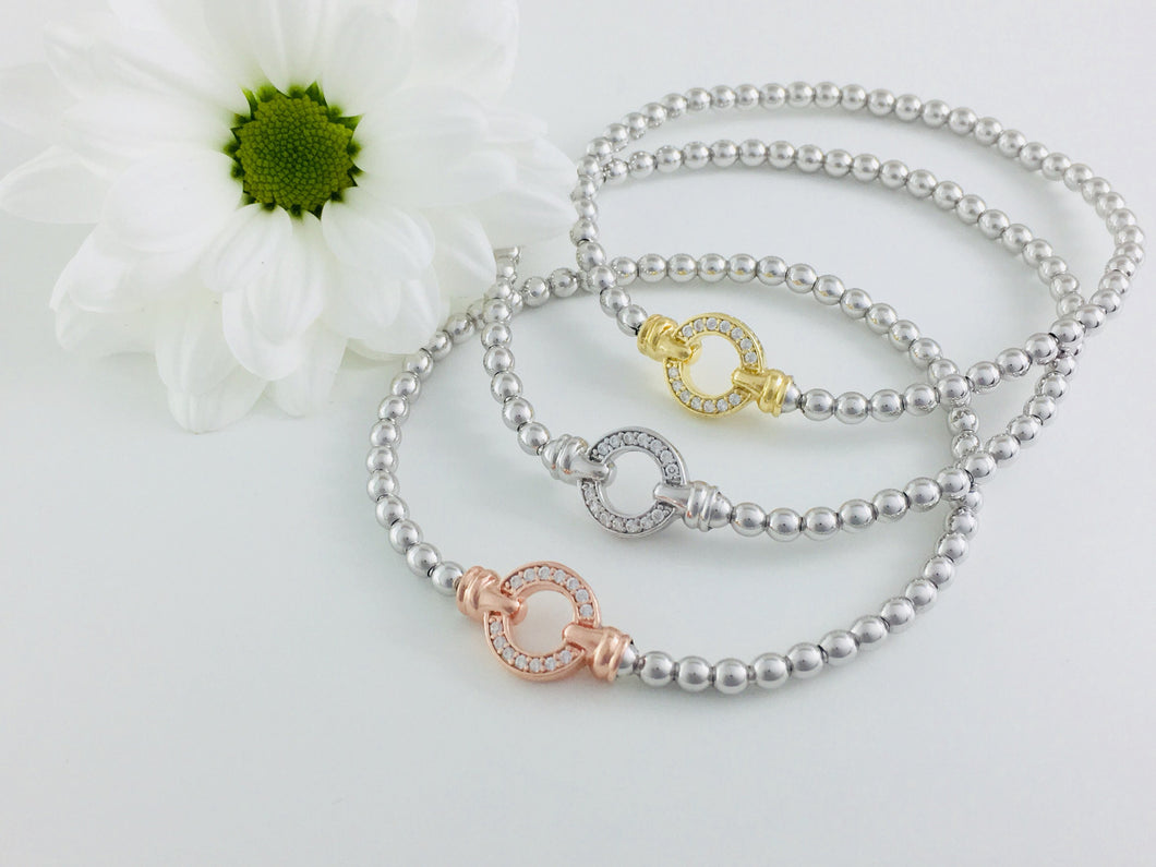 Set of 3, Designer Pave Set Circle Bracelet. Part of the Exquisite collection.