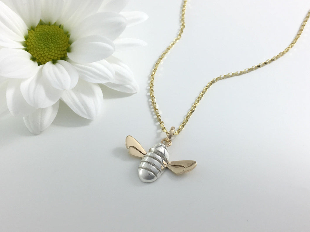 Honey Bee Necklace, Handmade in Argentium Silver & 9ct Gold by Jeffs Jewellers
