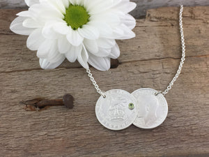 Silver Double Coin Birthstone necklace