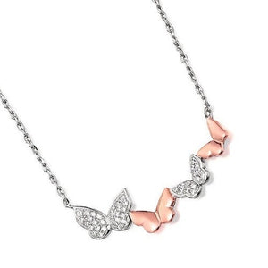 Butterfly necklace. Sterling Silver & Rose gold stone set Butterfly chain
