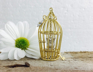 9ct Yellow and White Gold Diamond Set Gold Birdcage with Owl Necklace.