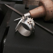 Load image into Gallery viewer, The Daisy Dew Drop Spinner Ring, handmade worry ring 9ct solid gold & sterling Silver