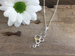 Silver Honeycomb and Bee necklace