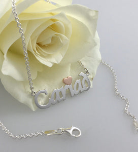 Cariad Love Necklace Silver & 9ct Rose Gold , name necklace. Welsh for love