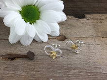 Load image into Gallery viewer, Silver Honeycomb Bee earring studs.
