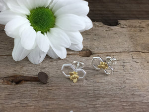 Silver Honeycomb Bee earring studs.