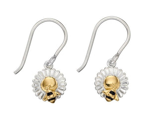 Silver flower and Gold bee dropper earrings