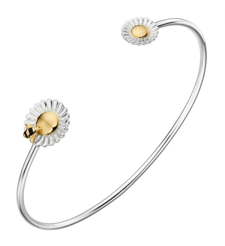 Silver flower and gold bee bangle