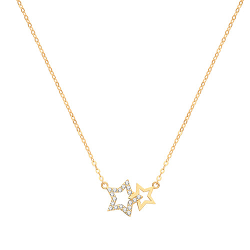 9ct Gold Dainty Double CZ Pave Set Star Necklace.