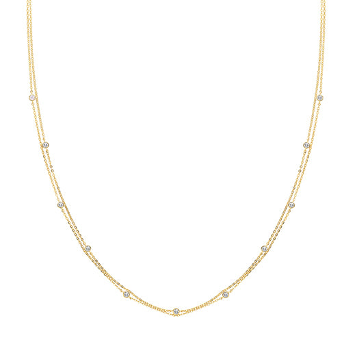 9ct Gold Dainty Double Strand Dew Drop Necklace.