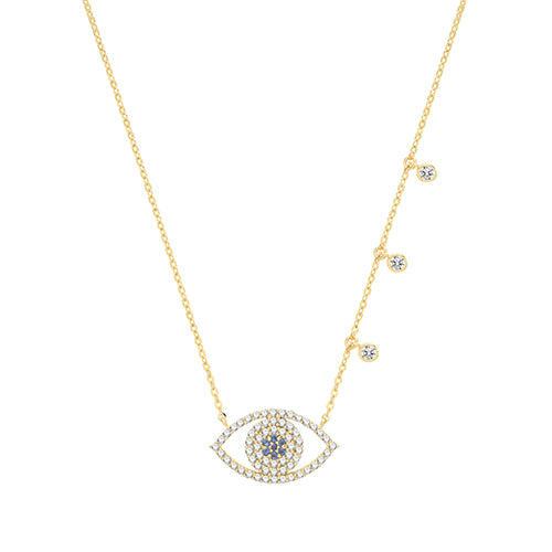 9ct Gold Dainty Cz Set Evil Eye Necklace. Good Luck