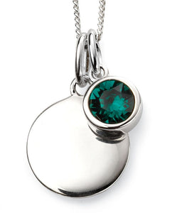 Silver Birthstone necklace May, engraveable.