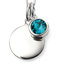 Load image into Gallery viewer, Silver Birthstone necklace December, engraveable.