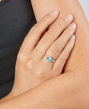 Load image into Gallery viewer, Silver Birthstone Ring March