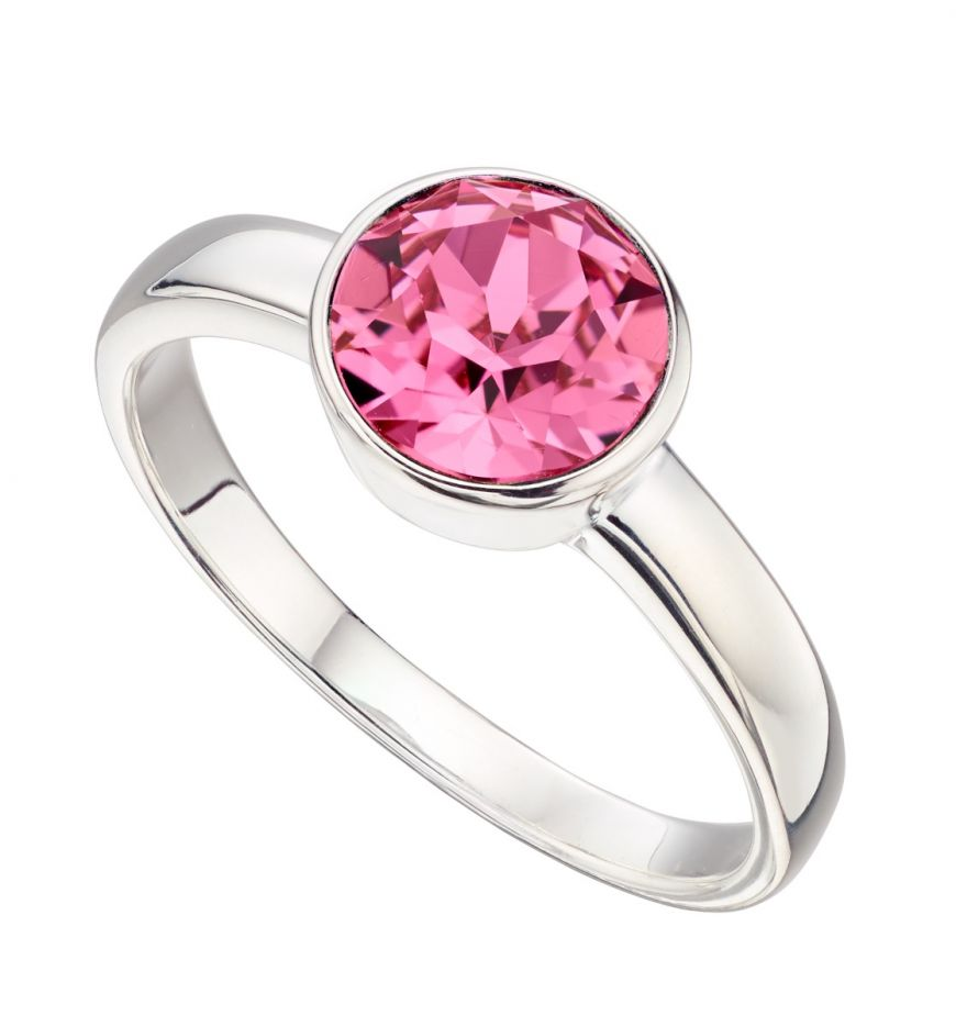 Silver Birthstone Ring October Pink Stone