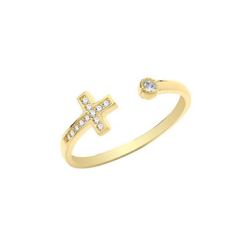 9ct Gold Stone Set Cross Ring.