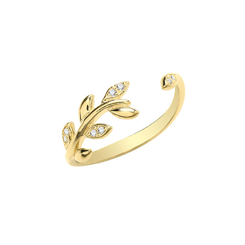 9ct Leaf Stone Set Ring.