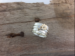 The Daisy Dew Drop Spinner Ring, handmade worry ring 9ct solid gold & sterling Silver
