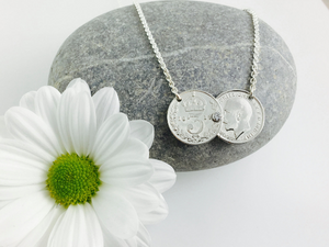 Double coin Threepence necklace, pre 1920 threepence,  sterling silver.