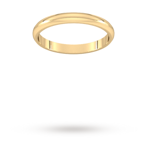 9ct 2.5mm Yellow Gold Traditional D shape Wedding Band.