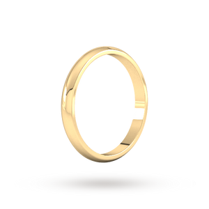 9ct 2mm Yellow Gold Traditional D shape Wedding Band.