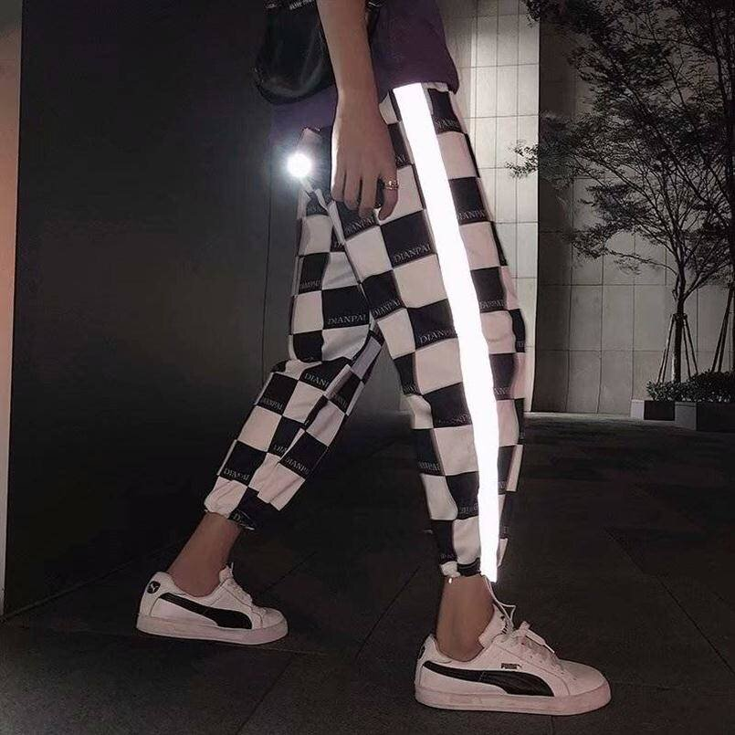Pantalon reflective a carreaux