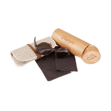 Load image into Gallery viewer, Fabrix Wooden Sunglasses - CLAYTON Smoky Walnut Whats In The Box