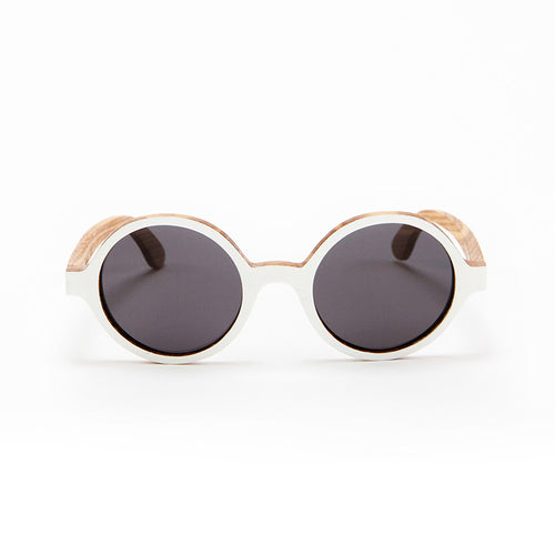 Fabrix Wooden Sunglasses - CLAYTON White on Zebra Front