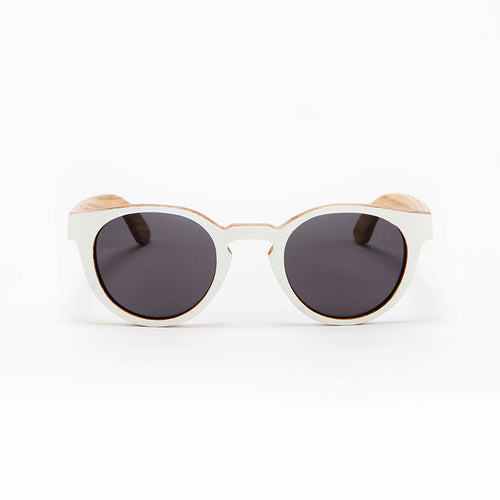 Fabrix Wooden Sunglasses - GRACE White on Zebra Front