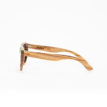 Load image into Gallery viewer, Fabrix Wooden Sunglasses - GRACE on Zebra Side