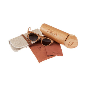 Fabrix Wooden Sunglasses - GRACE Zebra Whats In The Box
