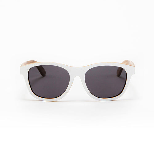 Fabrix Wooden Sunglasses - JARVIS White on Zebra Front