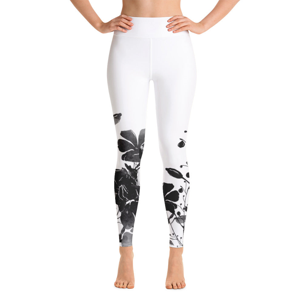 B&W Flower High-Waist Leggings