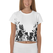 Load image into Gallery viewer, B&W Flower Crop Tee