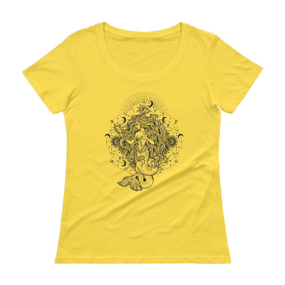Mandala Mermaid Scoopneck T-Shirt - Yellow