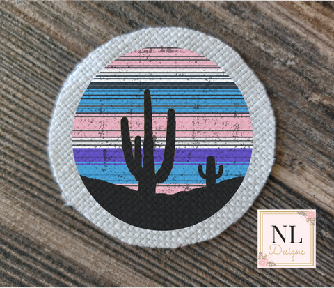 Cactus Purple Pink Sunset Round Patch