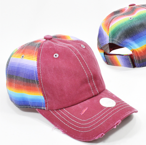 Burgundy Denim Serape Cap