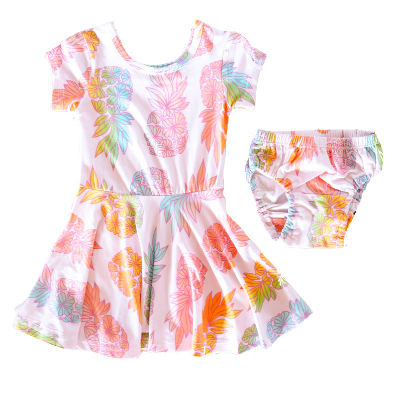 Infant T-Shirt Dress + Bloomers • Seaflower Pineapple Sherbet • Coco Moon + Jana Lam