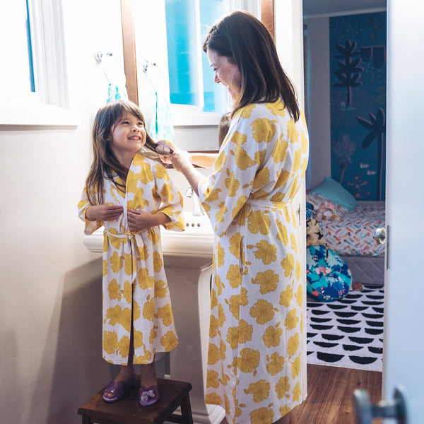 Toddler Robe • Golden Hibiscus • Coco Moon + Jana Lam