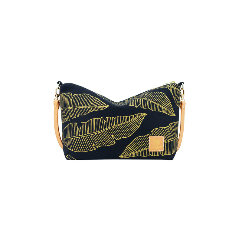 Mini Slouchy Cross Body • Banana Leaf • Gold on Black Fabric