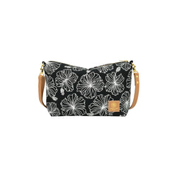 Mini Slouchy Cross Body • Hibiscus • White on Black Fabric