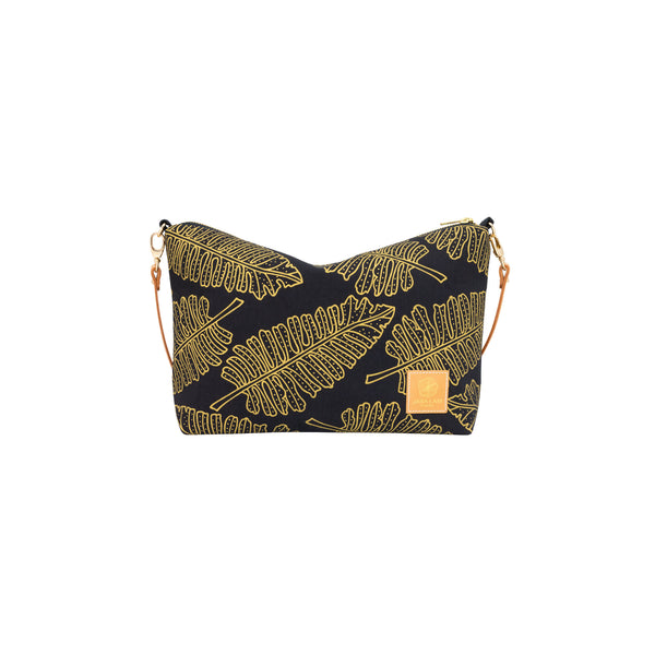 Mini Slouchy Cross Body • Native 'Ae • Gold on Black Fabric