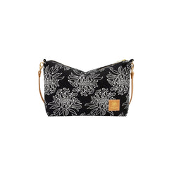 Mini Slouchy Cross Body • Night Blooming Cereus • White on Black Fabric