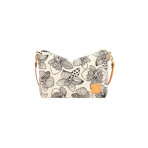 Mini Slouchy Cross Body • Orchid • Black on Natural Fabric