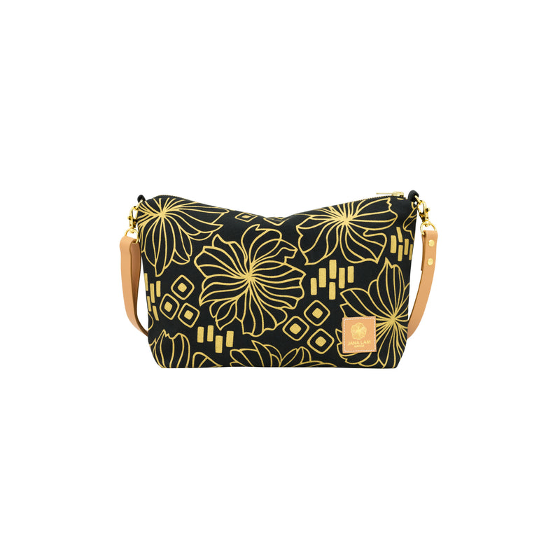 Mini Slouchy Cross Body • Retro Blooms • Gold on Black Fabric