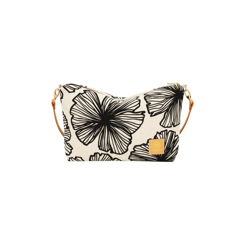 Mini Slouchy Cross Body • Seaflower • Black on Natural Fabric