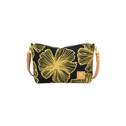 Mini Slouchy Cross Body • Seaflower • Gold on Black Fabric