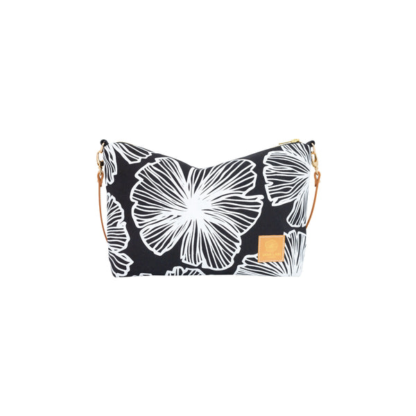 Mini Slouchy Cross Body • Seaflower • White on Black Fabric